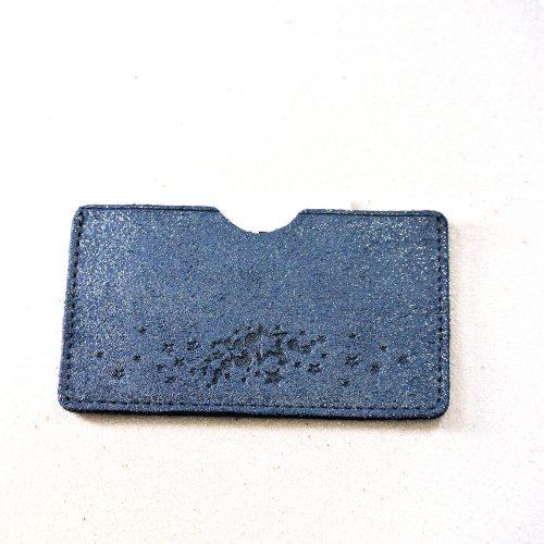 Simple étui à carte en cuir, étui simple à carte, en cuir, en cuir pailleté, made in France, La Cartablière