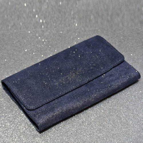 Joli et indispensable porte feuille compagnon, en cuir pailleté, La cartablière, made in France, bleu de minuit