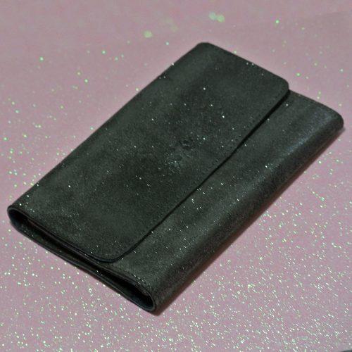 Joli et indispensable porte feuille compagnon, en cuir pailleté, La cartablière, made in France, gris anthracite