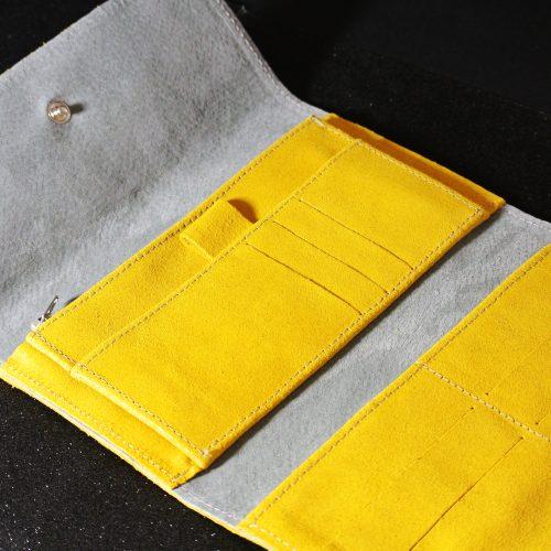 Joli et indispensable porte feuille compagnon, en cuir pailleté, La cartablière, made in France, intérieur