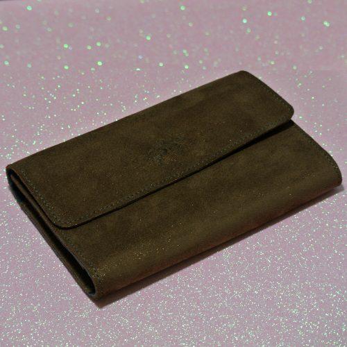 Joli et indispensable porte feuille compagnon, en cuir pailleté, La cartablière, made in France, marron cuivré