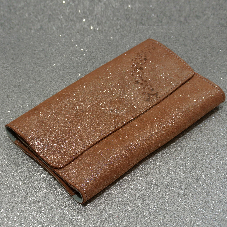 Joli et indispensable porte feuille compagnon, en cuir pailleté, La cartablière, made in France, marron terracotta