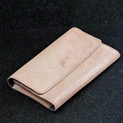 Joli et indispensable porte feuille compagnon, en cuir pailleté, La cartablière, made in France, orange poche