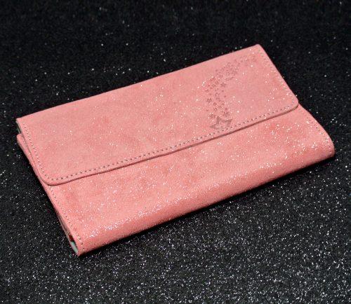 Joli et indispensable porte feuille compagnon, en cuir pailleté, La cartablière, made in France, rose bonbon