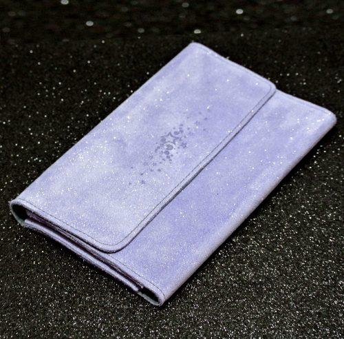 Joli et indispensable porte feuille compagnon, en cuir pailleté, La cartablière, made in France, violet, lavande
