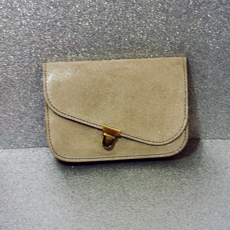 Jolie Mini Pochette en Cuir Rétro Rose Bonbon, pochette en cuir, cuir, cuir pailleté, made in france, la cartablière
