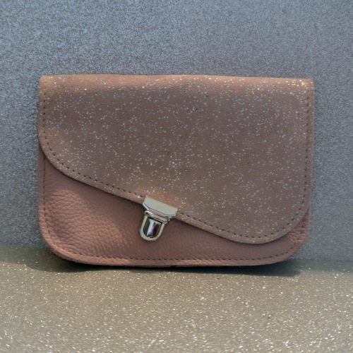 mini pochette, en cuir pailleté, attache cartable, pochette cartable, made in france, la cartablière