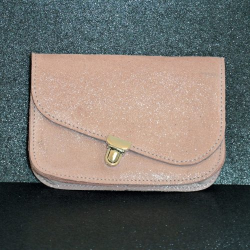 Pochette en cuir pailleté, Porte monnaie en cuir pailleté, made in france, la cartabliere