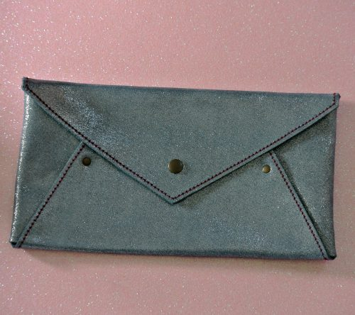 Midi enveloppe en cuir pailleté, enveloppe en cuir, enveloppe de voyage, petite enveloppe, made in france, la cartablière
