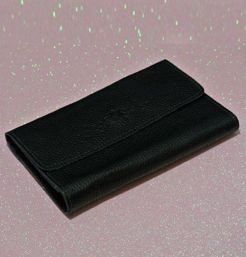 Joli Porte feuille Compagnon Noir en cuir grainé Noir, made in France, pleine fleur