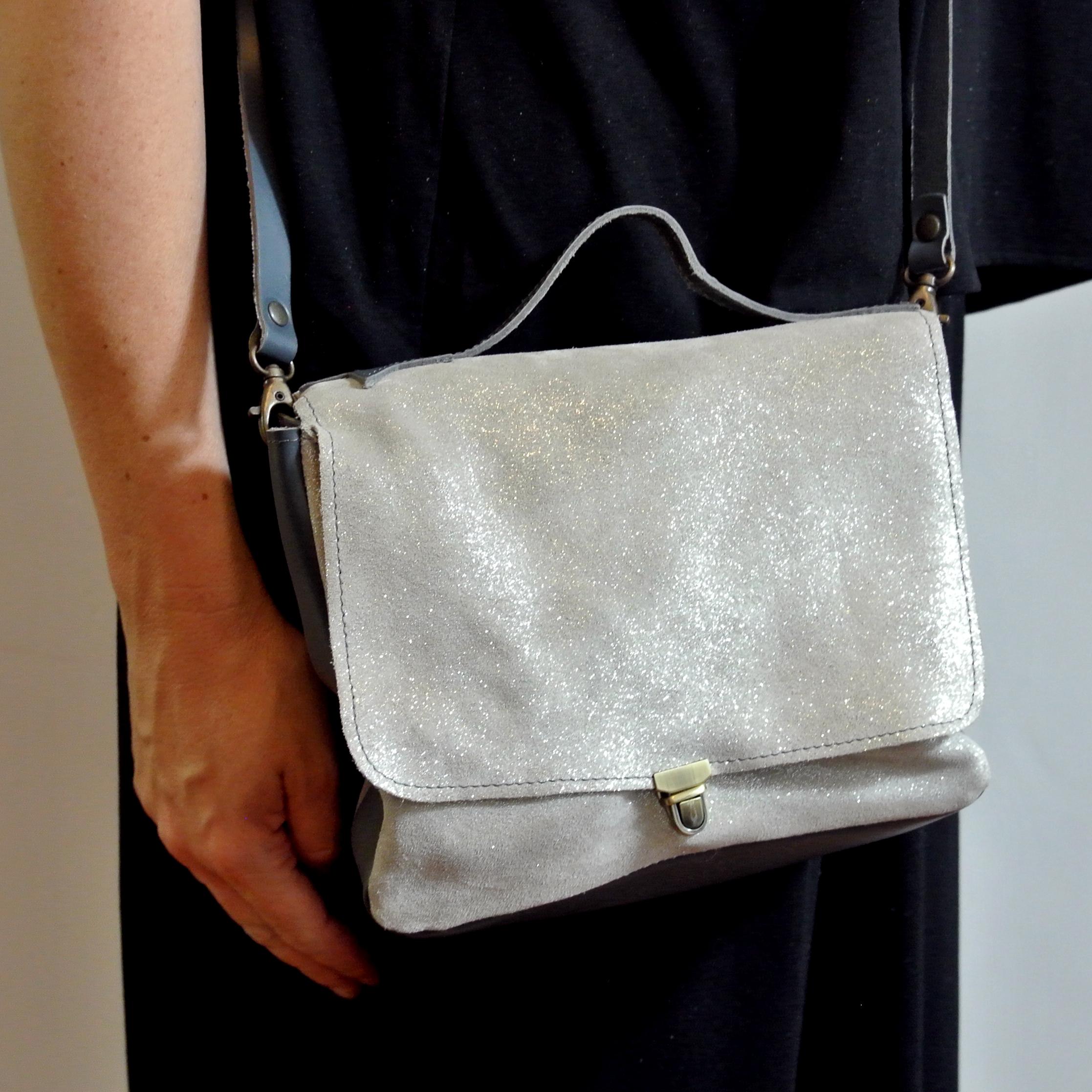 Sac mini écolière en cuir pailleté, sac cartable, made in france, La Cartablière