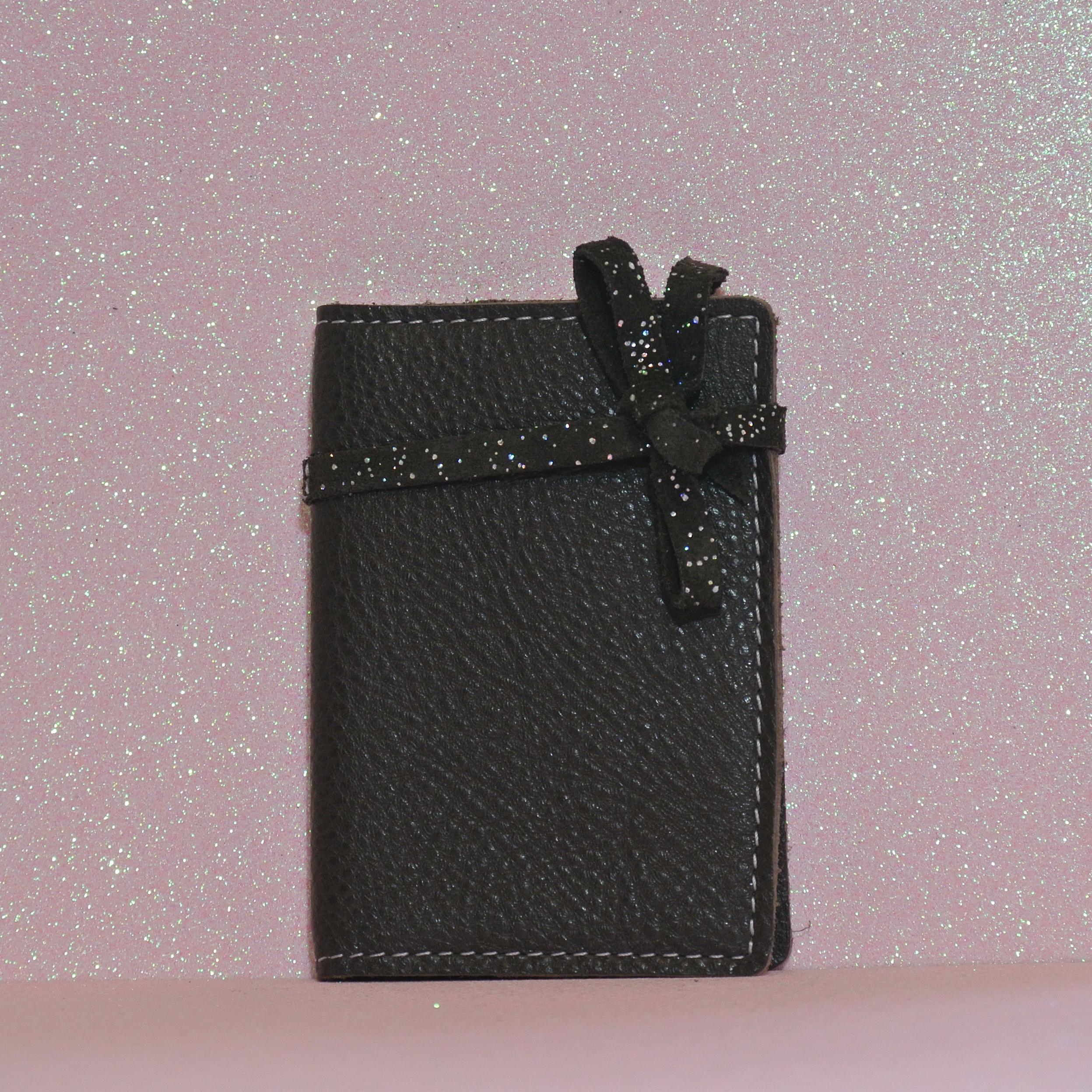 Simple Fidélité en Cuir grainé, noeuds, carte de fidélité, en cuir, la cartablière, made in france
