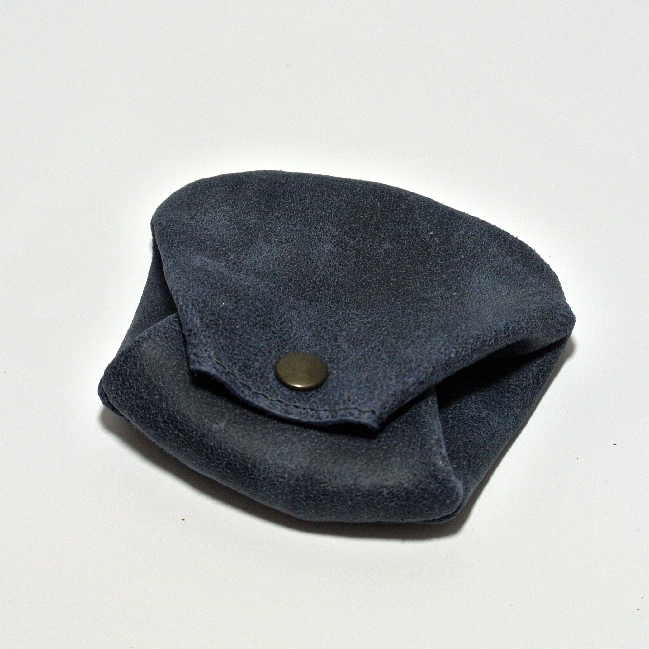 Joli porte monnaie crapaud, pour homme, en cuir rétro, en cuir vintage, made in france, bleu de minuit