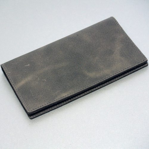 Protège chéquier pour homme, en cuir rétro gris anthracite, pour homme, made in France