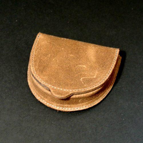 Boite à monnaie homme, en cuir rétro, cuir vintage, marron, chocolat, made in France