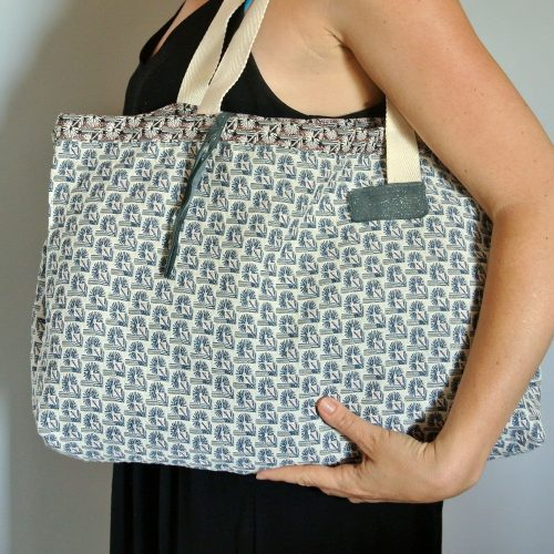 Cabas en tissu jacquard, grand sac, grand cabas, made in france, bleu paon