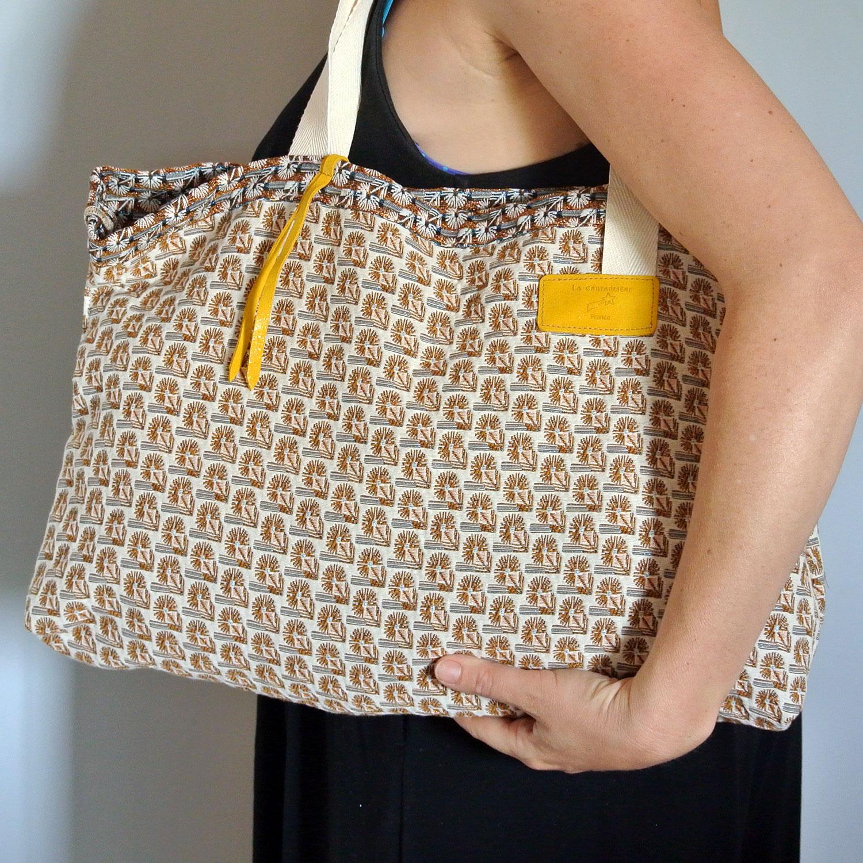 Cabas en tissu jacquard, grand sac, grand cabas, made in france, jaune safran