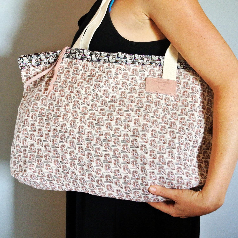 Cabas en tissu jacquard, grand sac, grand cabas, made in france, rose bonbon