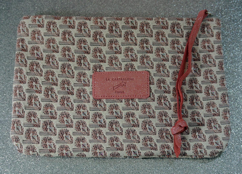 Pochette en jacquard, midi dragonnière, Cuir et Jacquard, La Cavalière, Made in France, rose bonbon