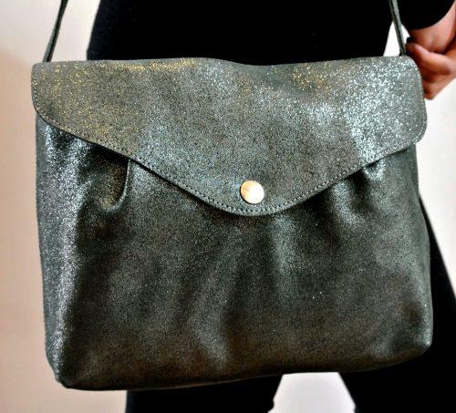 midi sac à pince, en cuir pailleté, en cuir, made in france, la cartabliere