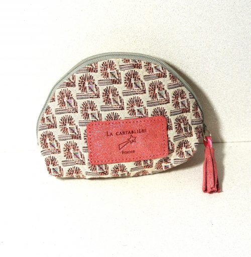 Jolie trousse à secret, trousse ronde, jacquard, cuir, made in france, rose bonbon