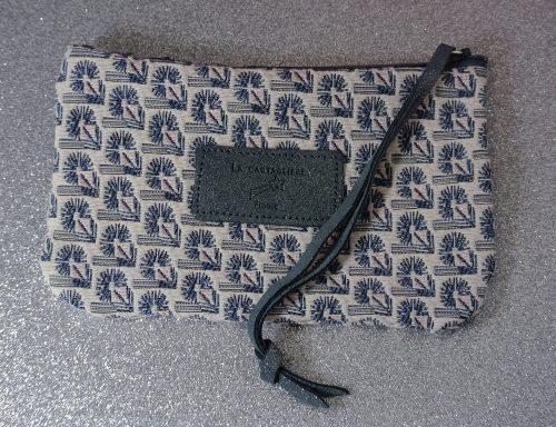 Jolie petite pochette, mini dragonnière, Jacquard, Jacquard et Cuir, La Cartablière, Made in France, bleu paon