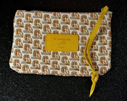 Jolie petite pochette, mini dragonnière, Jacquard, Jacquard et Cuir, La Cartablière, Made in France, Jaune Safran