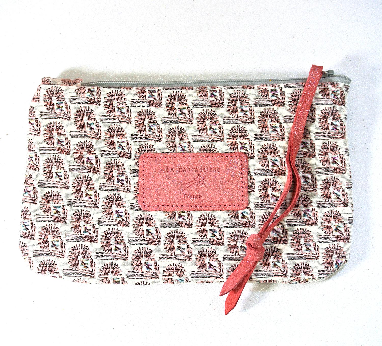 Jolie petite pochette, mini dragonnière, Jacquard, Jacquard et Cuir, La Cartablière, Made in France, rose bonbon
