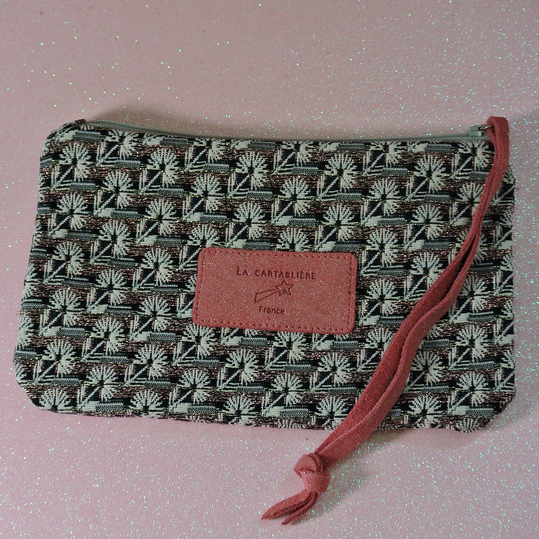 Jolie petite pochette, mini dragonnière, Jacquard, Jacquard et Cuir, La Cartablière, Made in France, Terracotta