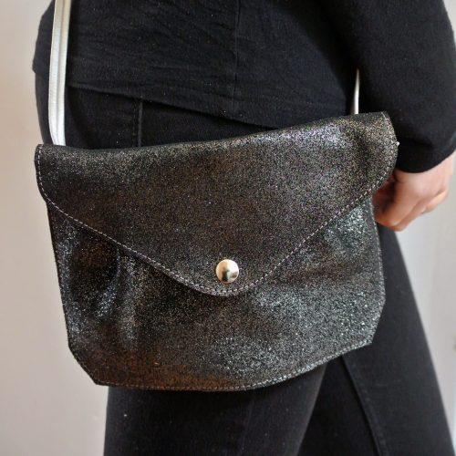mini sac à pinces, en cuir, en cuir pailleté, pinces, made in france, la cartabliere