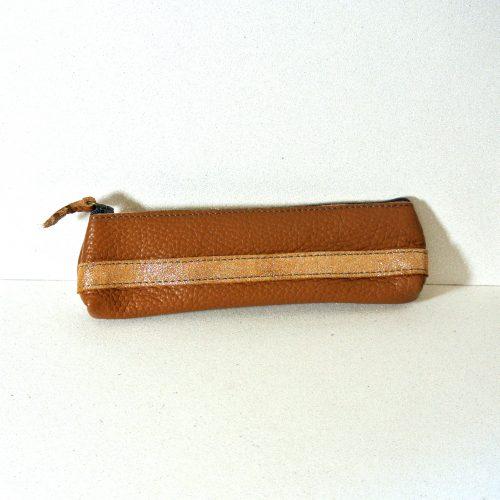 Mini trousse à stylo, petite trousse à stylo, en cuir, en cuir grainé, made in france, la cartablière