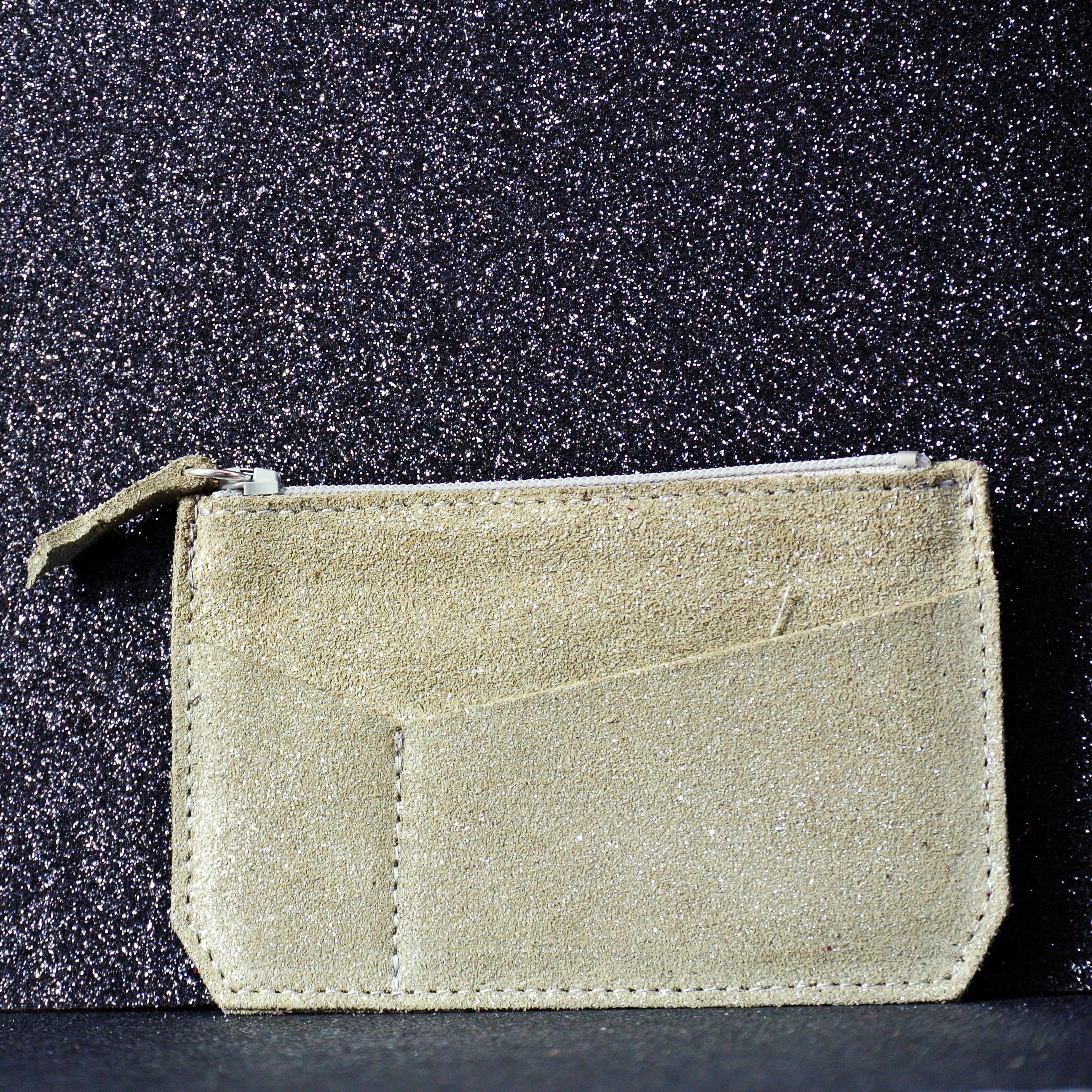 porte monnaie, mini v, en cuir, en cuir pailleté, made in france, la cartabliere