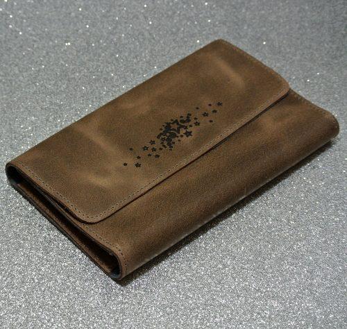 Joli porte feuille compagnon en cuir rétro marron chocolat, made in France