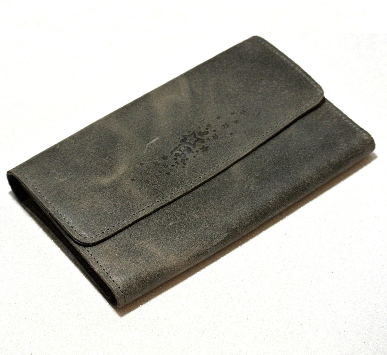 Joli porte-feuille compagnon en cuir rétro anthracite, made in france