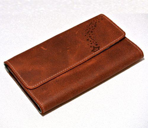 Joli porte feuille en cuir rétro marron terracotta, made in france