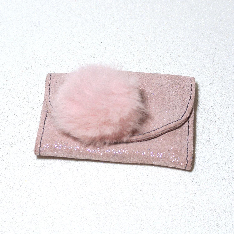 Collection Lapin, Pompon en fourrure de lapin, porte monnaie, cuir pailleté, made in France, la cartablière