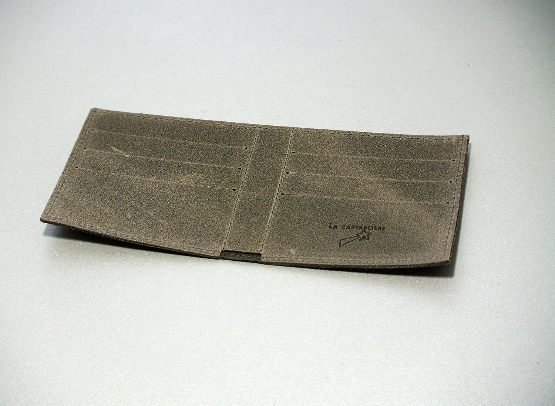 Portefeuille pour homme, en cuir, en cuir rétro, en cuir vintage, made in France, La Cartabliere