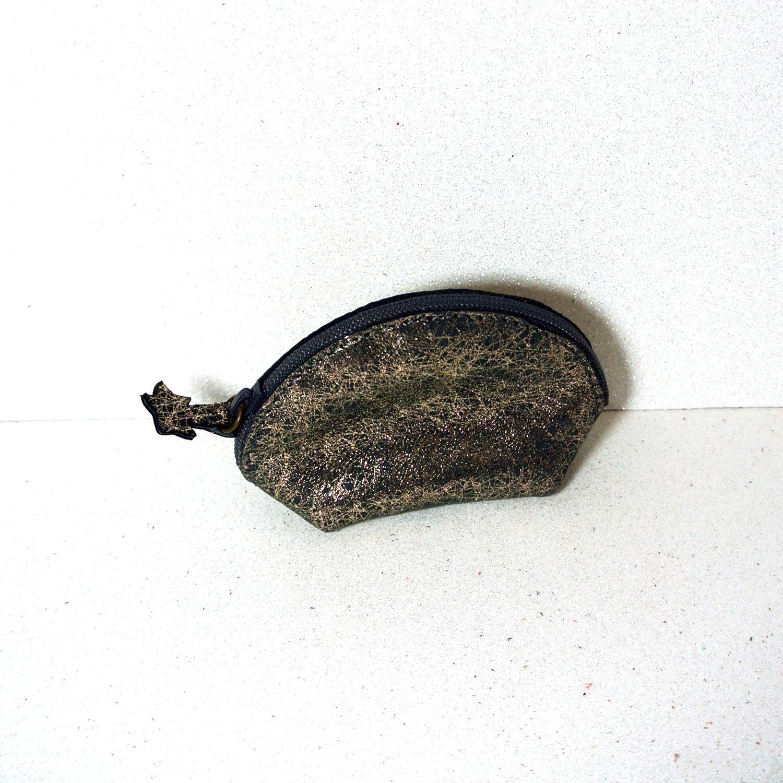 Rikiki trousse à secret, minuscule porte monnaie, petit porte monnaie pour petite filles, en cuir, en cuir fil d'or, made in france, la cartabliere