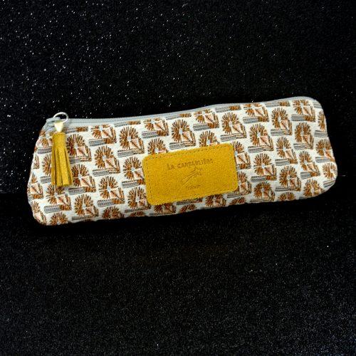 Trousse à stylos en Jacquard et Cuir, La Cartablière, Made in France, jaune safran