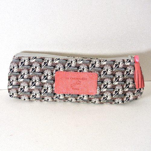 Trousse à stylos en Jacquard et Cuir, La Cartablière, Made in France, Terracotta