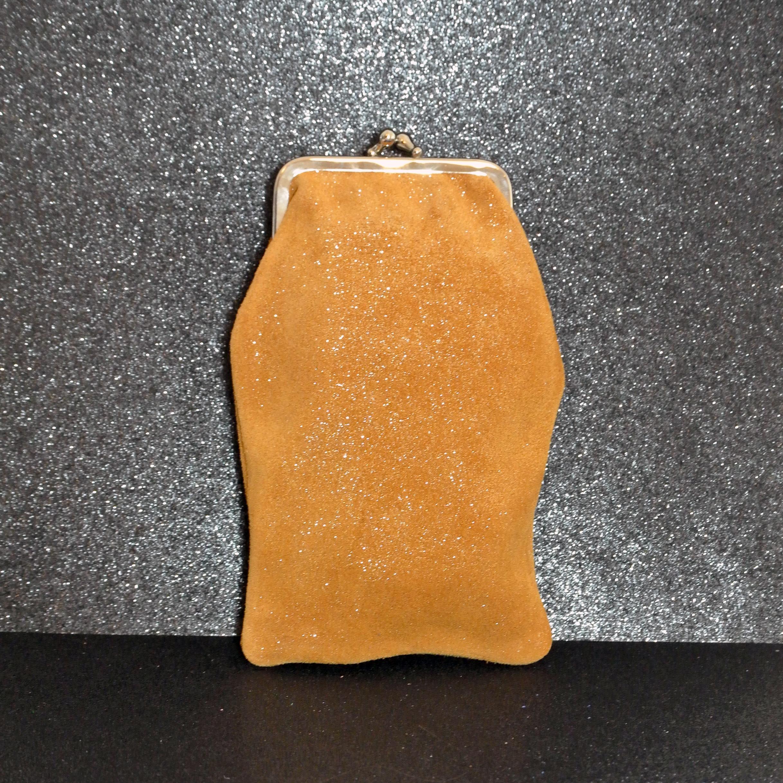 Étui à Lunette Reine en Cuir Pailleté Miel, cuir pailleté, made in france, la cartabliere