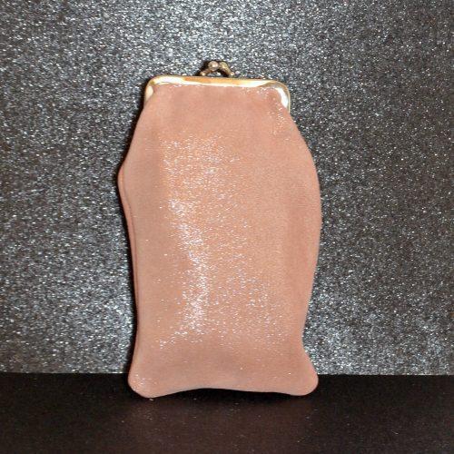 Étui à Lunette Reine en Cuir Pailleté Rose Papaye, cuir pailleté, made in france, la cartabliere