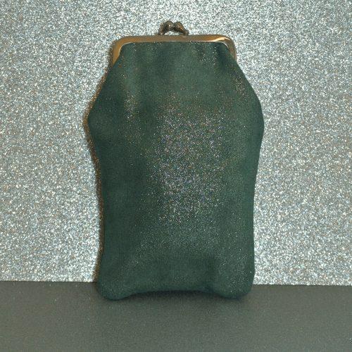 Étui à Lunette Reine en Cuir Pailleté Vert pin, cuir pailleté, made in france, la cartabliere
