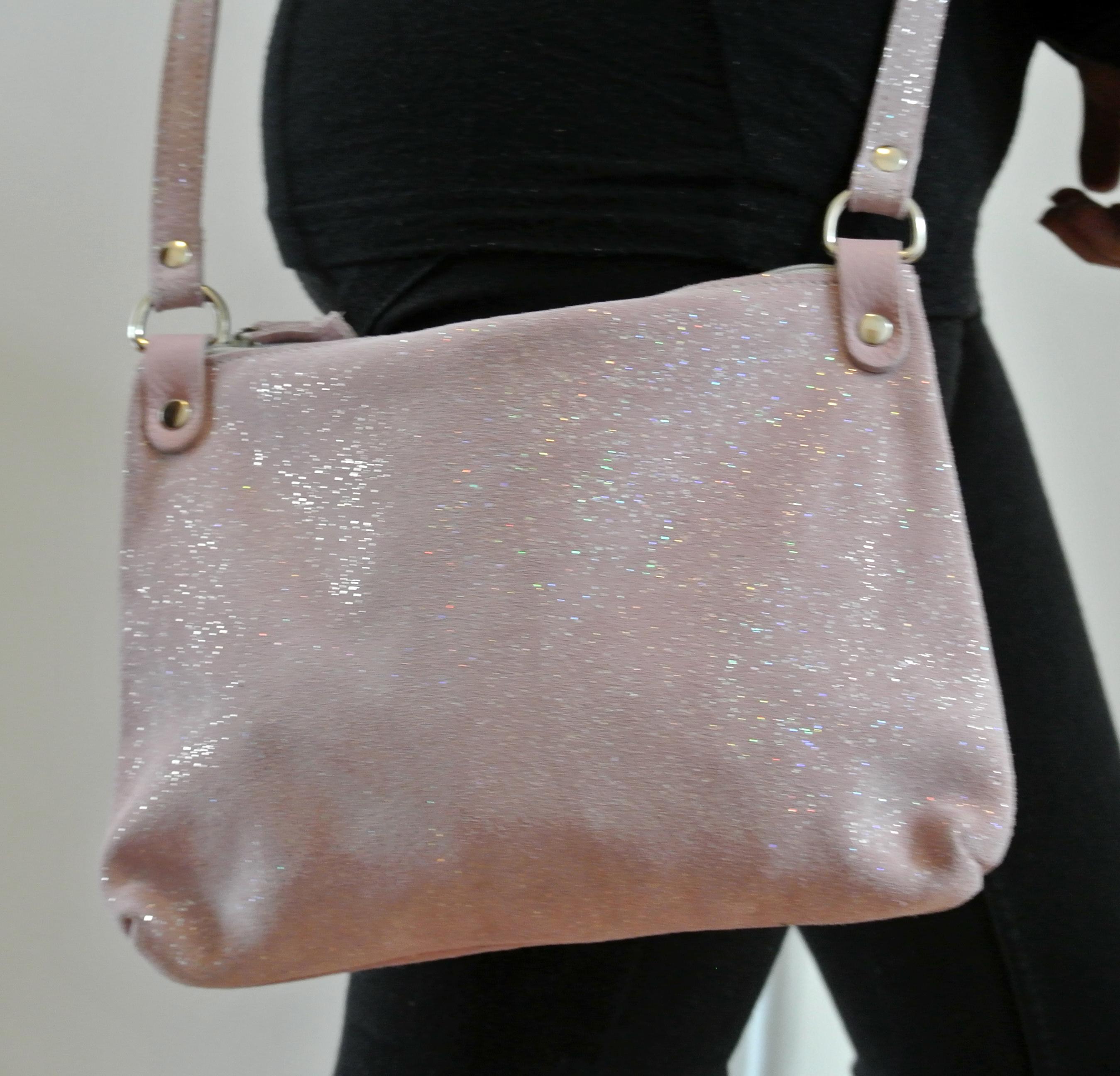 sac comète, en cuir, en cuir pailleté, made in france, la cartablière