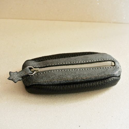 Porte clés grain de café en cuir pailleté bleu ardoise