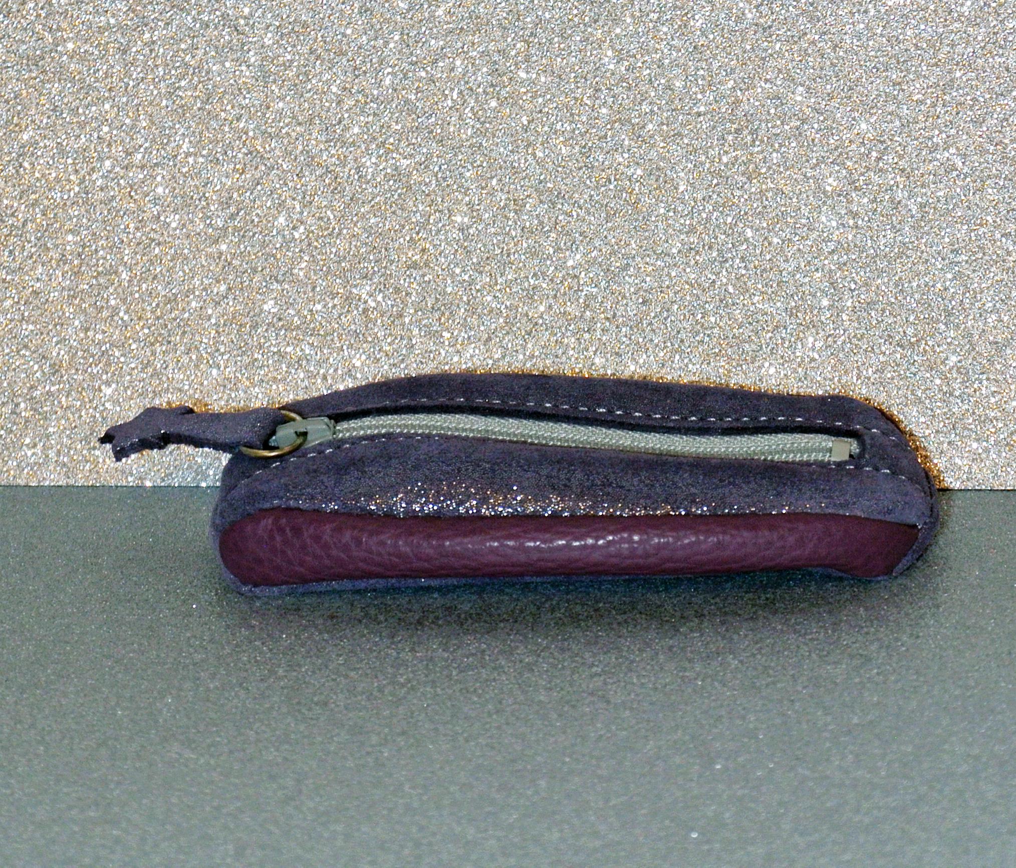 porte clé grain de café en cuir pailleté, grainé la cartabliere, made in france