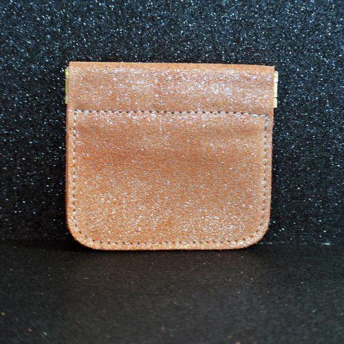 porte monnaie clic clac en cuir pailleté citrouille