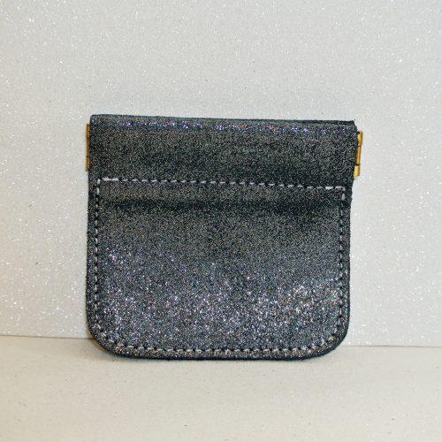 porte monnaie clic clac en cuir pailleté bleu ardoise