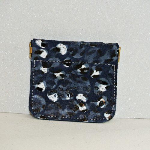 porte monnaie clic clac en cuir plume bleu ardoise